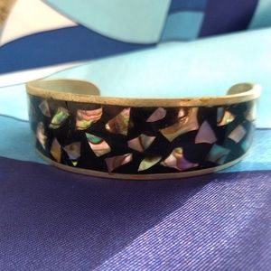 Mexican Silver Abalone Onyx Cuff Bracelet